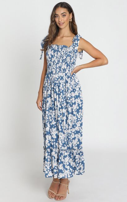 Rochelle Shirred Bodice Maxi Dress in navy floral - 6 (XS), Navy, hi-res image number null
