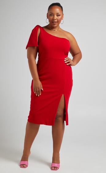 I Got A Feeling One Shoulder Side Split Knee length Dress in Red