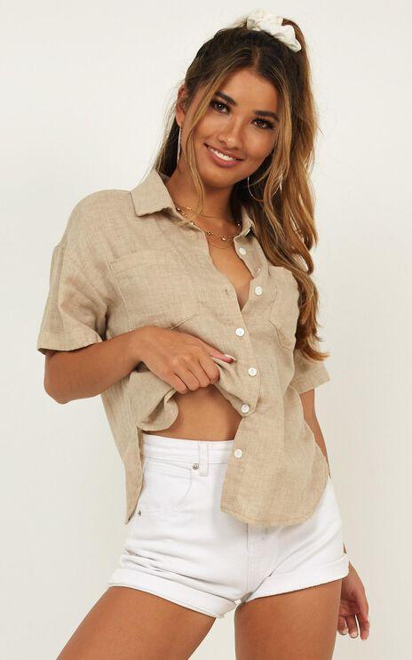 Self Care Shirt In Beige Linen Look