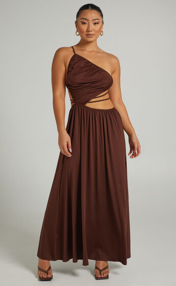 Ornella Maxi Dress with Tie up Details in Chocolate