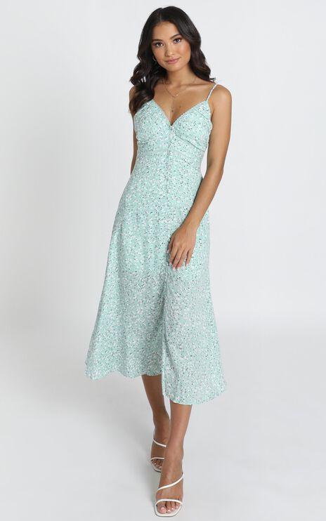 Kaia Midi Dress in Blue Floral