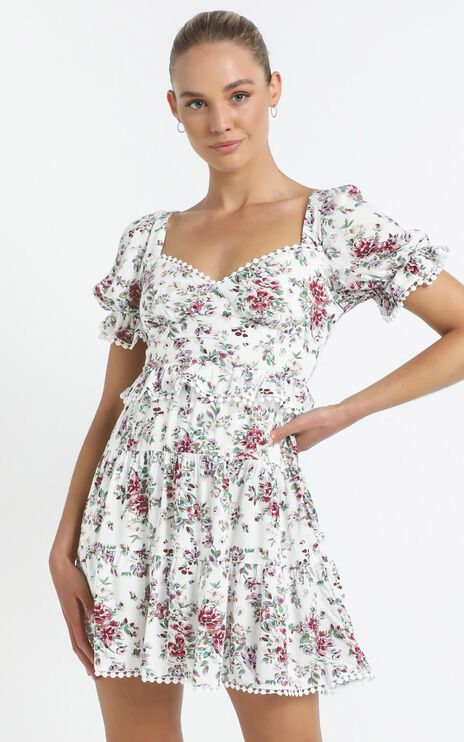 Kelise Dress in White Floral