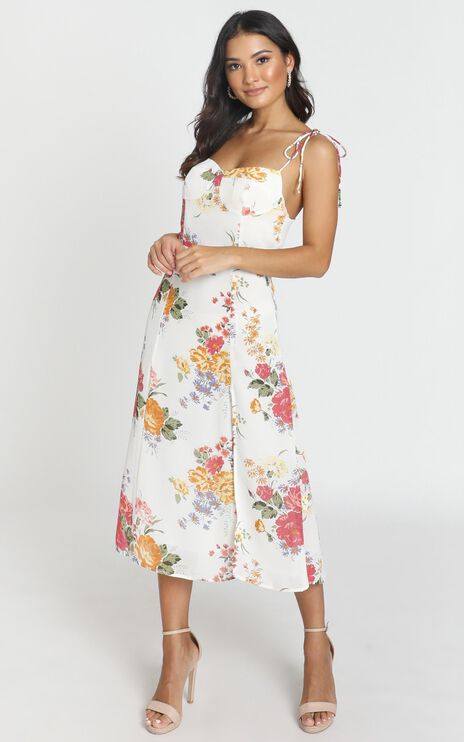 Lacey Panelled Midi Dress in Multi Floral