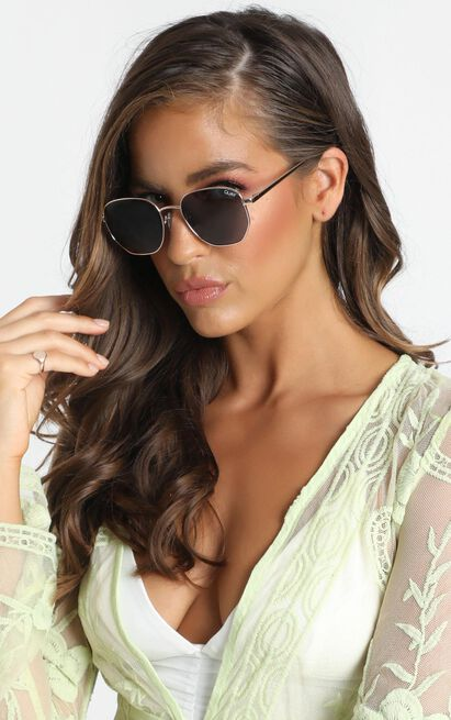 Quay - Big Time Sunglasses In Gold, , hi-res image number null