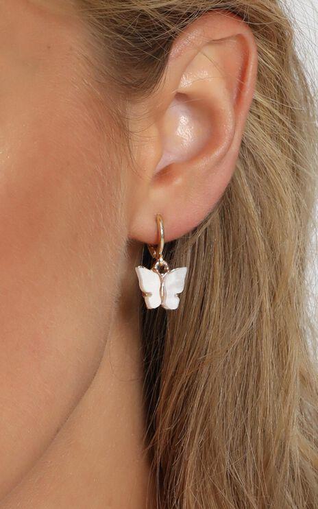 Butterfly Drop Earrings in White