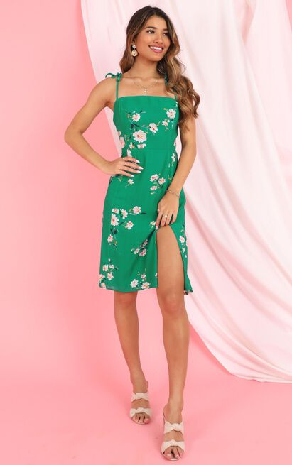Daring Soul Dress in green floral - 20 (XXXXL), Green, hi-res image number null