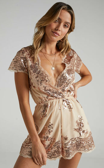Baby Come Back Playsuit In Rose Gold Sequins
