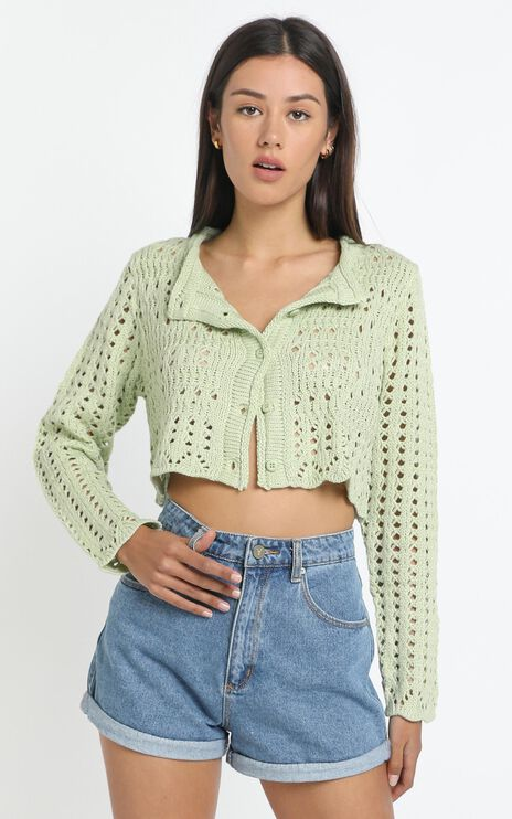 Conor Knit Cardigan in Green