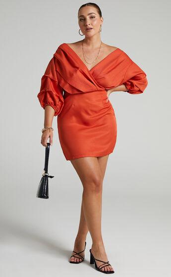 Anastasija Mini Off Shoulder Dress in Paprika
