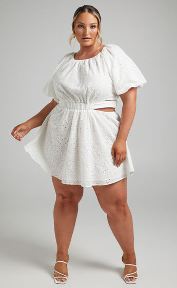 Krizia Cut Out Tie Back Mini Dress in White Embroidery Anglaise
