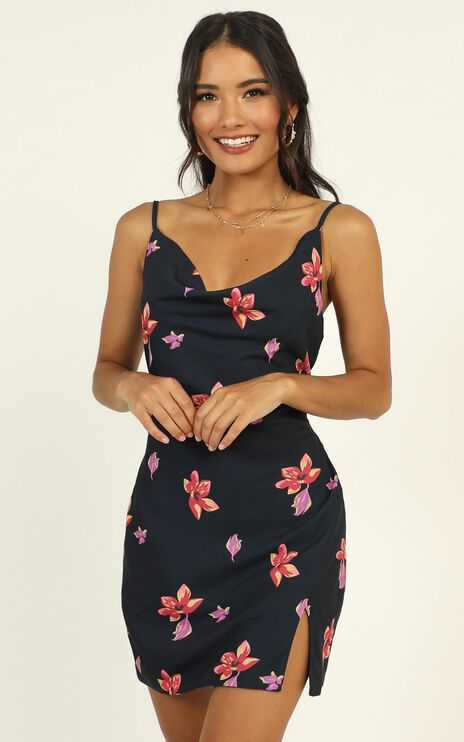 Endless Stories Dress In Navy Floral