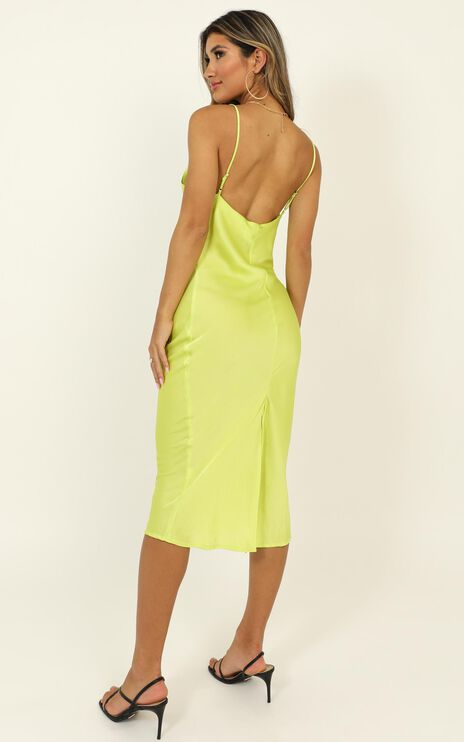 Before The Storm Dress In Lime Green Satin