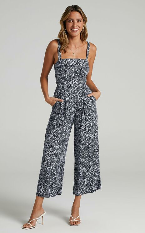 Life On The Road Jumpsuit In Navy Floral