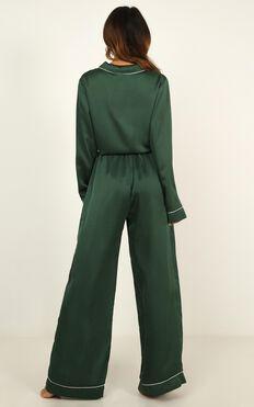 Kingdom Sleep Pants in emerald satin