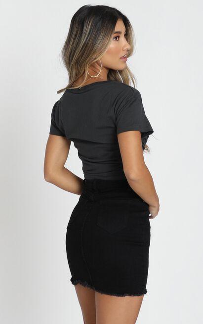 San Diego Denim Skirt In Black Wash - 4 (XXS), Black, hi-res image number null