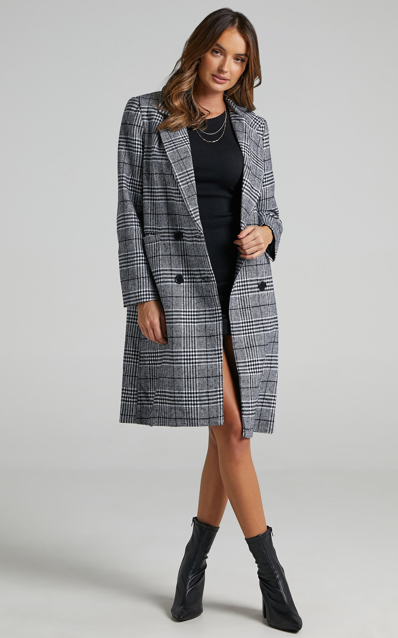 As Time Passes By Coat in Grey Check - 20, GRY1, super-hi-res image number null