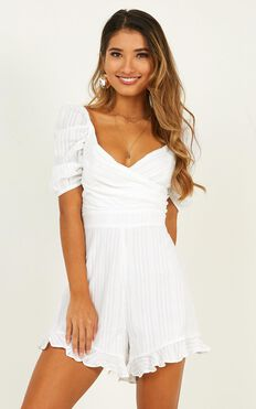 Pending Love Playsuit In White