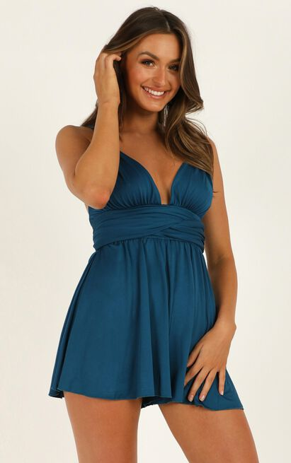 Time To Tango Playsuit in teal satin - 18 (XXXL), Blue, hi-res image number null