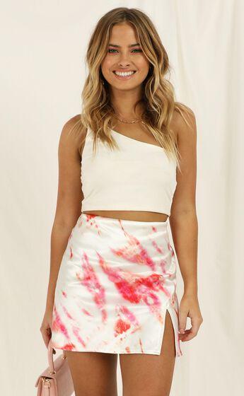 Alfie Skirt In Pink Tie Dye Satin