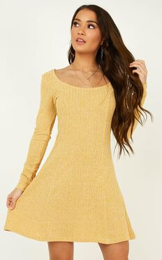 Wildly Dreaming Dress In Mustard Marl
