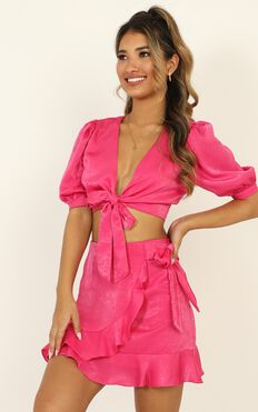 Best Of Both Worlds Two Piece Set In Hot Pink Satin