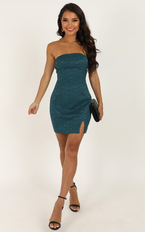 Its Too Late Dress In Emerald Jacquard