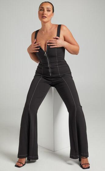 Georgianna Flare Contrast Stitch Detail Jumpsuit in Black