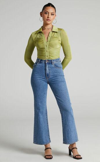 Bryonie Ruched Front Collar Bodysuit in Green