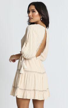 Edith Mini Dress in Beige Embroidery