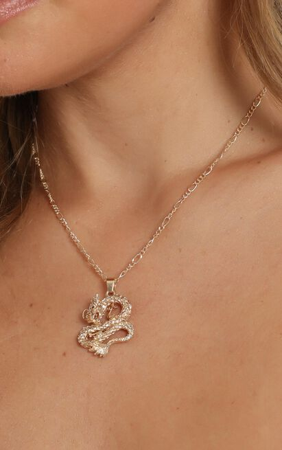 Cool Vibes Serpent Necklace In Gold, , hi-res image number null
