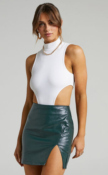 In The Name Of Love  Leatherette Mini Skirt in Emerald Leatherette