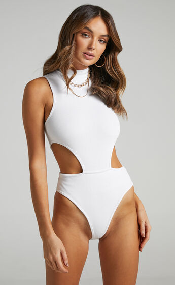 Nuala High Neck Side Cut Out Bodysuit in Cream