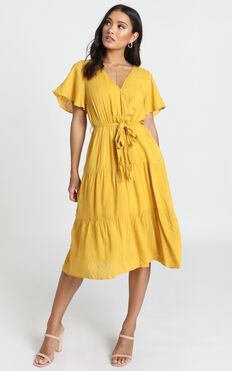 Fight The Feeling Dress In Mustard