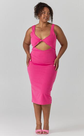 Coyote Twist Detail Midi Dress in Pink