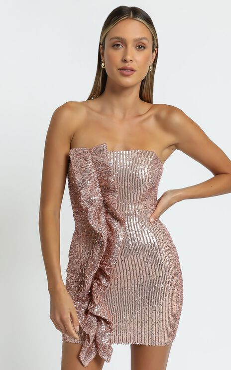 Amile Strapless Ruffle Mini Dress in Bronze Sequin