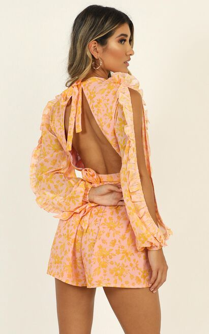 All The Good Girls Playsuit In pink floral - 14 (XL), Pink, hi-res image number null