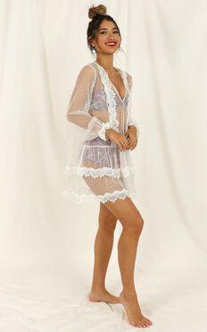 Summer Frolick Dress In White Spot