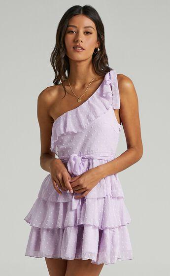 Darling I Am A Daydream One Shoulder Ruffle Mini Dress in Lilac