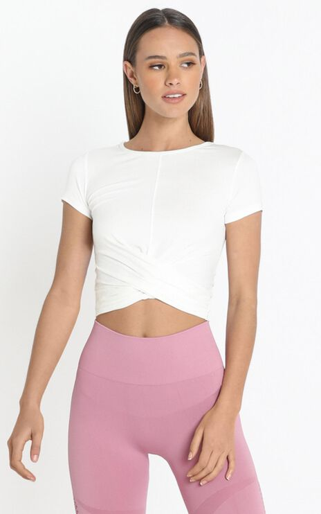 Irina Twist Detail Activewear Top in White