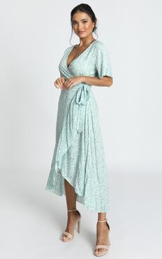 Enid Wrap Midi Dress In Blue Print
