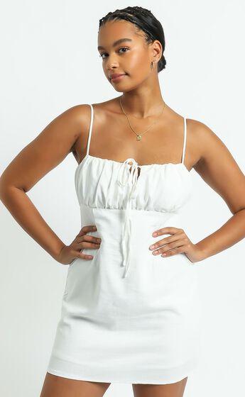 Break Free With Me Dress in White Linen Look