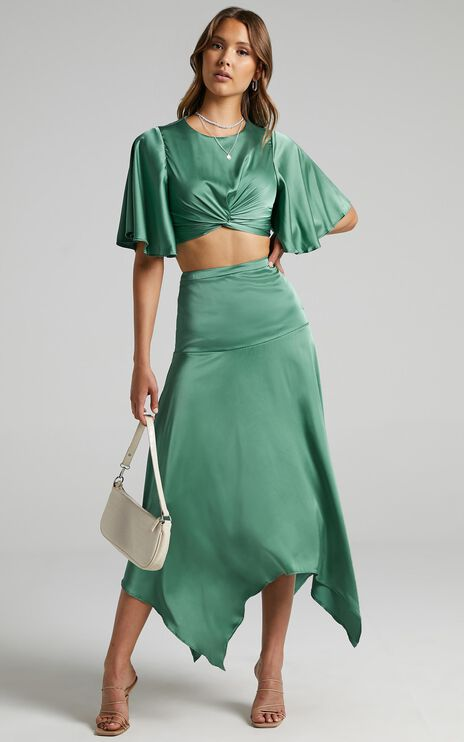 Chione Two Piece Set in Jade Satin