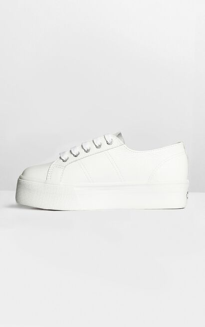 Superga - 2790 FGLW Platform Sneakers in white leather - 11, White, hi-res image number null