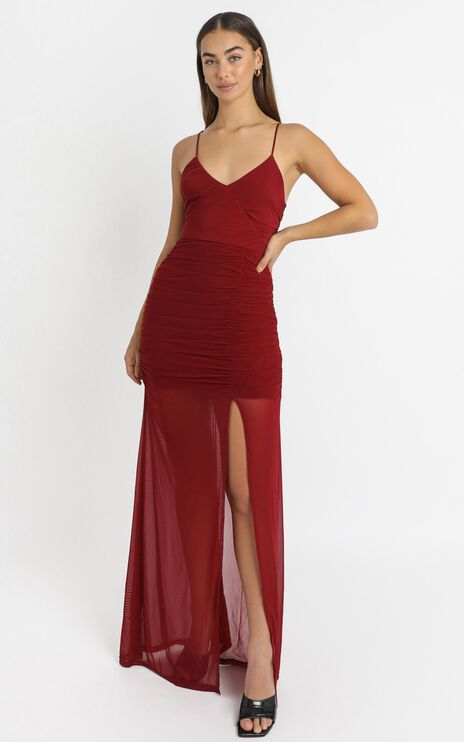 Gigi Dress in Wine Mesh