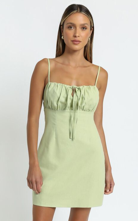 Break Free With Me Dress in Pistachio Linen Look