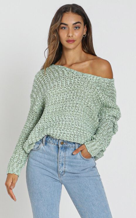 April Textured Knit Jumper in Pistachio