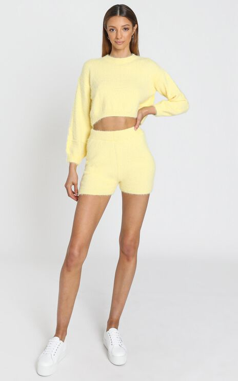 Loretta Fluffy Knit Two Piece Set in Yellow