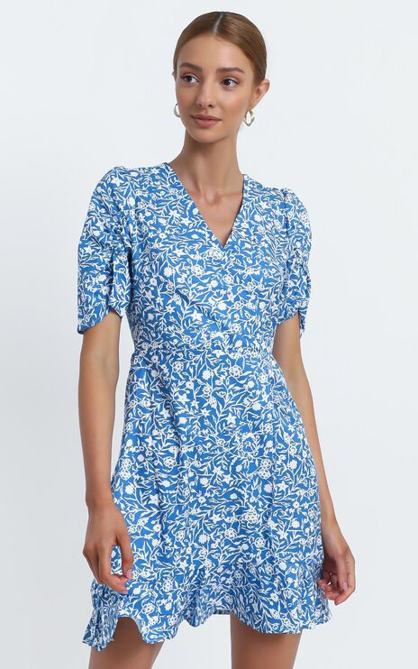 Sapphira Dress in Blue Floral