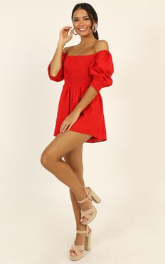 Take Action Playsuit In Red Linen Look