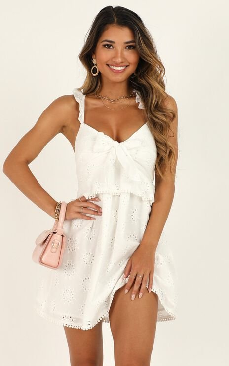 Ok Honey Dress In White Embroidery
